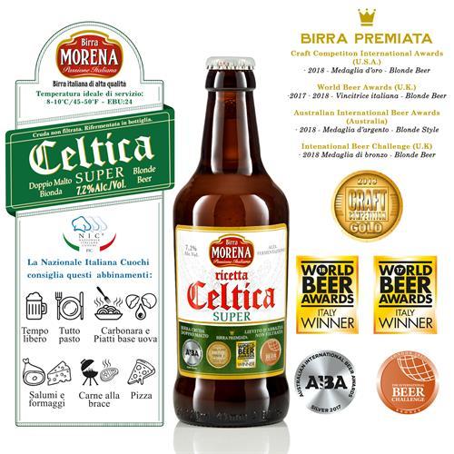 Celtica Super CL 33 cassa da 12 PZ - 7,2 % alc. vol. - Craft Beer - Birra Morena - Doppio Malto Bionda