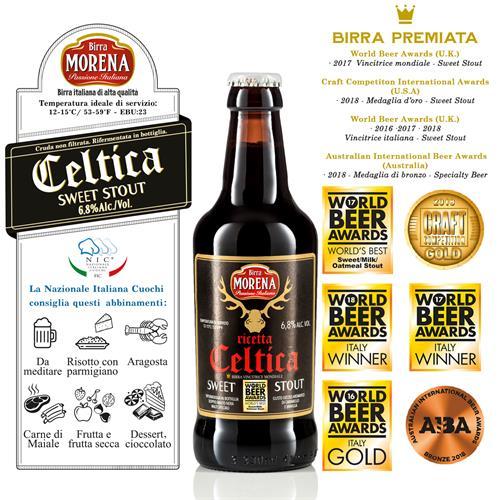 Celtica Sweet Stout CL 33 cassa da 12 PZ - 6,8 % alc. vol. - Craft Beer - Birra Morena - Doppio Malto - Speciale