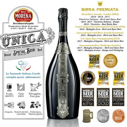 Birra Morena Unica Rossa L 1,5 Magnum In Cassa Di Abete Nera