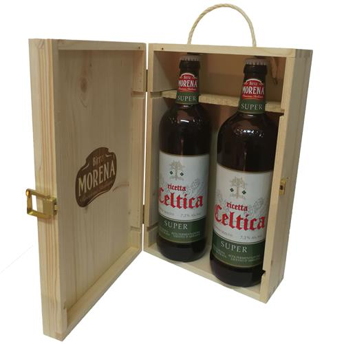 Cassa Di Abete Naturale con 2 Craft Beer 75cl (2 Celtica Super)