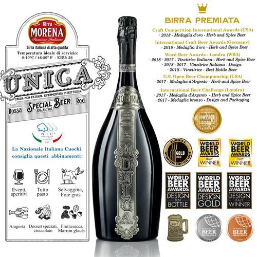 Birra Morena Unica Rossa L 1,5 Magnum In Cassa Di Abete Nera con 2 Bicchieri prodotti da Maestri Argentieri