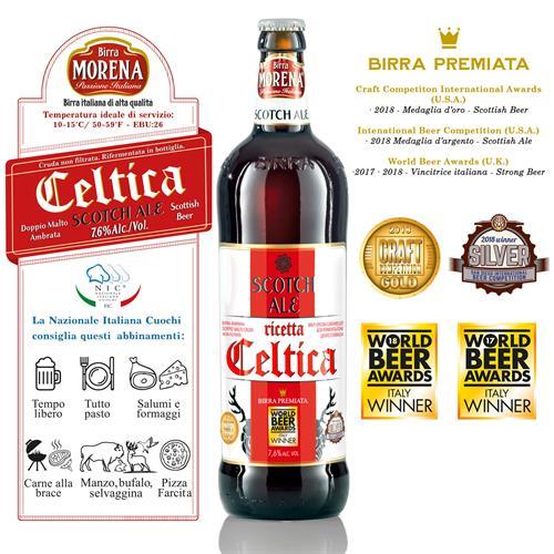 Celtica Scotch Ale CL 75 - 7,6 % alc. vol. - Craft Beer - Birra Morena - Doppio Malto Ambrata