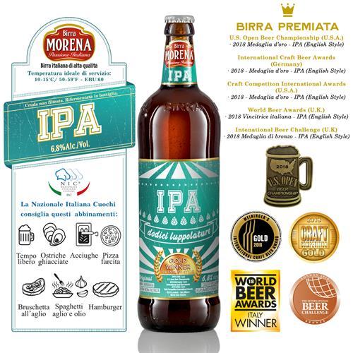 Birra Morena IPA CL 75 - 6,8 % alc. vol. - Craft Beer  - 12 luppolature