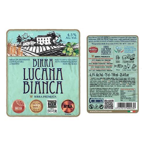 Lucana Bianca CL 75 - 4,5 % alc. vol.- Craft Beer - Birra Morena - Cruda -  Luppolatura a freddo -